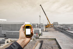 Finding the right position inside a construction site via gps Stock Photography