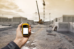Finding the right position inside a construction site via gps Royalty Free Stock Photos
