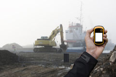 Finding the right position inside a construction site via gps Royalty Free Stock Images