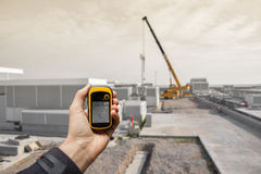 Finding the right position inside a construction site via gps Stock Photos