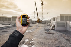 Finding the right position inside a construction site via gps ( Stock Images