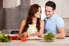 Finding the right recipe for dinner Stock Photography