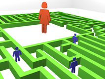 Finding right woman. Love maze. 3D render of a maze - labyrinth Royalty Free Stock Images