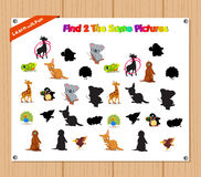 Finding the Same Picture Educational Game for Preschool Children with Animals Royalty Free Stock Images