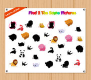 Finding the Same Picture Educational Game for Preschool Children with Animals Royalty Free Stock Image