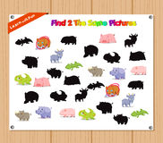 Finding the Same Picture Educational Game for Preschool Children with Animals Royalty Free Stock Photos