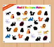 Finding the Same Picture Educational Game for Preschool Children with Animals Stock Photos