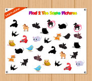 Finding the Same Picture Educational Game for Preschool Children with Animals Royalty Free Stock Photography