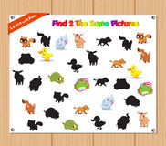 Finding the Same Picture Educational Game for Preschool Children with Animals Royalty Free Stock Photo