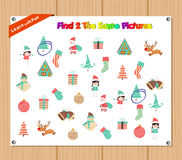Finding the Same Picture Educational Game for Preschool Children with christmas Royalty Free Stock Photo