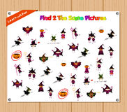 Finding the Same Picture Educational Game for Preschool Children with halloween Royalty Free Stock Photography