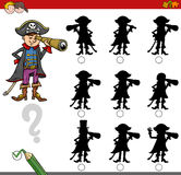 Finding shadow game with pirate. Cartoon Illustration of Find the Shadow without Differences Educational Activity for Children with Pirate Fantasy Character Royalty Free Stock Photos