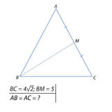 Finding the side of an isosceles triangle Royalty Free Stock Photos