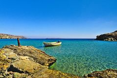 Lonely Boat Crete, Greece royalty free stock photography