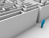 Finding a Solution. Maze design concept blue man Stock Photo