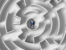 Finding the solution. Top view of successful businessman standing in center Stock Photography