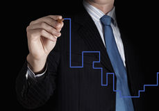Finding solution. Close up of businessman drawing way out of labyrinth Stock Photography