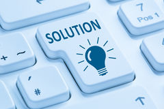 Finding solution for problem conflict button internet blue compu Royalty Free Stock Photography