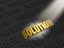 Finding a Solution. A spotlight illuminates bright, gold SOLUTION on a dark background of PROBLEMs Royalty Free Stock Photos