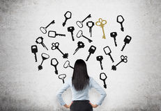 Finding a solution. Young woman with hands on hips in search of the right solution which are presented as keys around her. Concrete background. Back view Royalty Free Stock Images