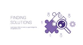 Finding Solutions Web Banner With Copy Space Business Decision Concept. Vector Illustration Royalty Free Stock Images