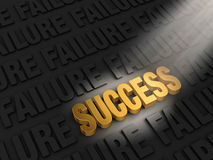 Finding Success In Failure. A spotlight illuminates a bright, gold SUCCESS on a dark background of FAILURESs Royalty Free Stock Photo
