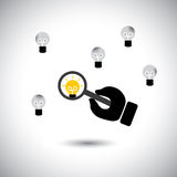 Finding talented employees with best ideas - concept vector. This graphic icon also represents the job of human resources department, scarcity of experts & Stock Image