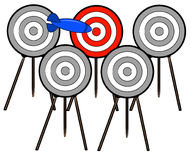 Finding the target. Dart choosing the right target among many - vector Stock Image
