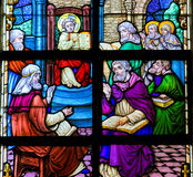 Finding in the Temple - Stained Glass Royalty Free Stock Photography
