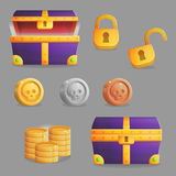 Finding a treasure chest set of game icons Royalty Free Stock Image