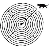Finding a way. A cat with a mouse in a maze. Vector illustration Stock Image