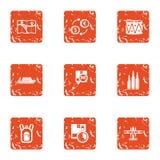 Finding ways icons set, grunge style. Finding ways icons set. Grunge set of 9 finding ways vector icons for web isolated on white background Royalty Free Stock Photo