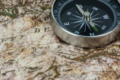 Finding Your Direction - Compass and Map Stock Image