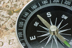 Finding Your Direction - Compass and Map Stock Photos