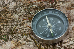 Finding Your Direction - Compass and Map Royalty Free Stock Photography