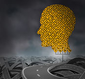 Finding Your Way. In a challenging environment as a business career choice or health care decisions with a group of yellow road signs in the shape of a human Royalty Free Stock Images