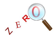 Finding zero. There are some moments in your life when your search returns no results - this is one of those moments. Magnifying glass over zero letter from zero Royalty Free Stock Images
