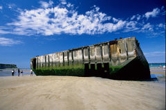 Finds port prefabricated World War II arromanches. Allied landing normandy france Royalty Free Stock Photography