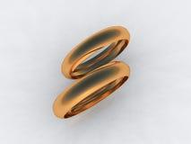 Fine 24 karat gold wedding bands. 3d Stock Images