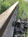 Fine abbandonata del binario ferroviario su fotografie stock libere da diritti