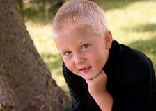 fine adorabile del ragazzo in su immagine stock
