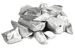 Aluminum. 99.99% fine aluminum isolated on white background stock photography
