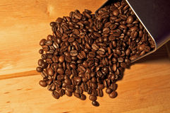 Fine Arabica Coffee Beans. Being poured from a tin can Stock Photos
