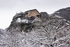 Fine Art, Black and White winter scene in Meteora Eastern Orthodox monasteries, Greece. The Meteora is a rock formation in central Greece hosting one of the royalty free stock image