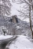 Fine Art, Black and White winter scene in Meteora Eastern Orthodox monasteries, Greece. The Meteora is a rock formation in central Greece hosting one of the stock image