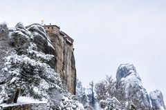 Fine Art, Black and White winter scene in Meteora Eastern Orthodox monasteries, Greece.
