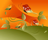 Fine Art butterflies. Editable  illustration of butterflies in field Stock Images