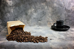 Fine art coffee beans and cup Stock Photos