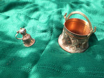 Fine art. Copper ornament jar and dish Royalty Free Stock Image
