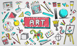 Fine art equipment and stationary doodle and tool model icon. In isolated background. Art subject doodle used for school education or document decoration with Stock Image